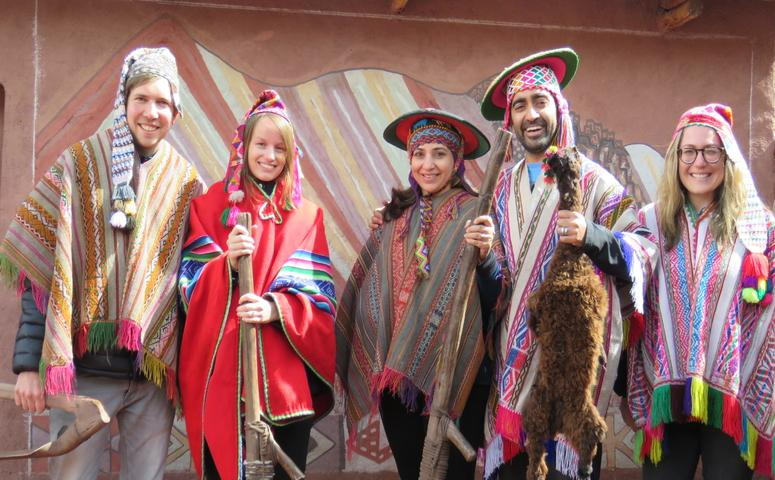 Travelers with typical Peruvian clothes
