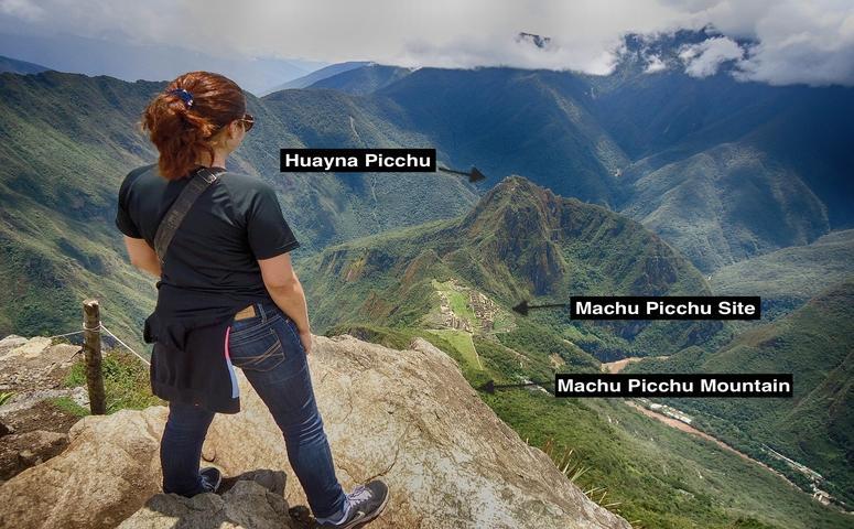 Mujer mirando desde montana machu picchu