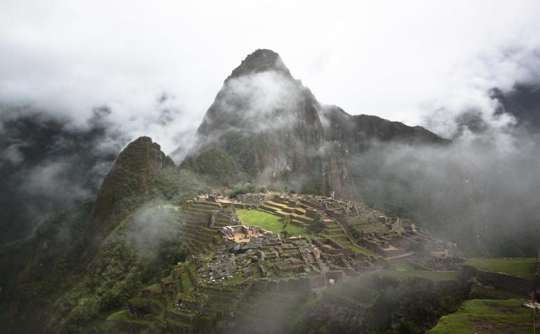 Machu Picchu covered in clouds