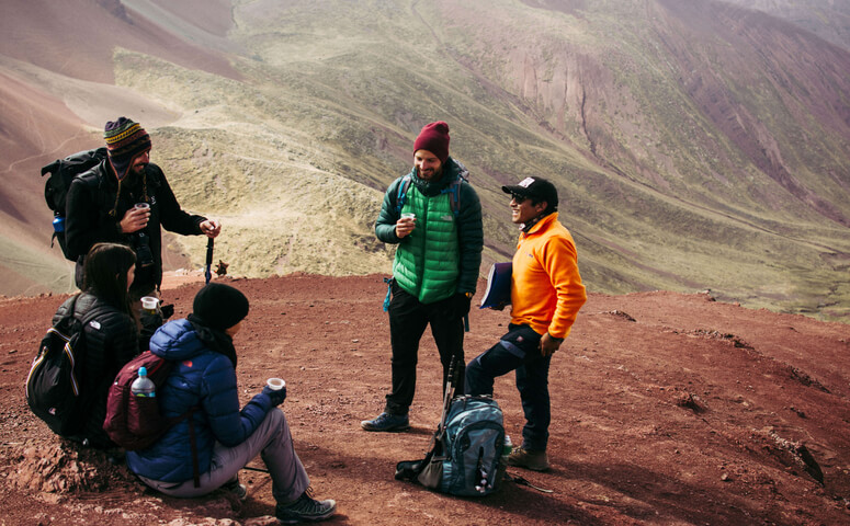 Group with red guide in red valley