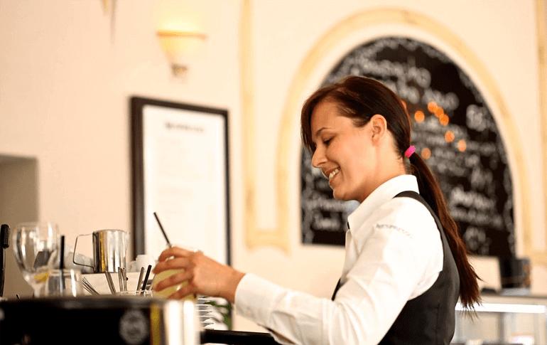 Peruvian female waitress