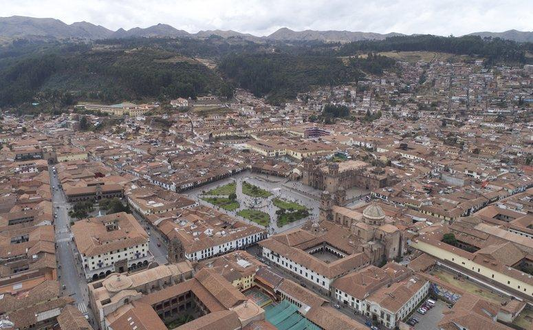 view from top over plaza de armas and other buildings