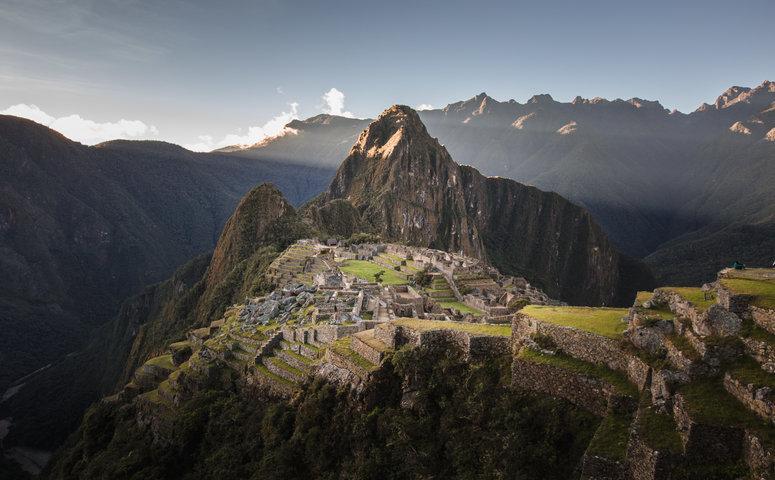 Machu Picchu view sunset blue sky