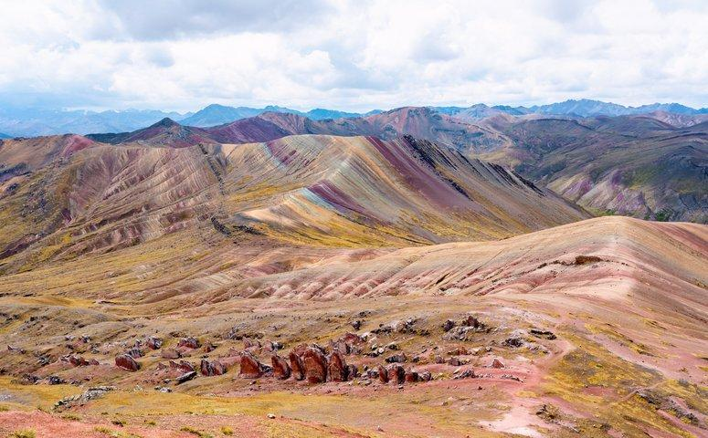 view on second and third rainbow mountain palccoyo