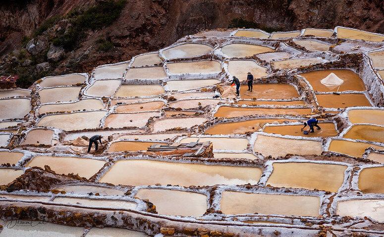 local working at salt ponds in maras