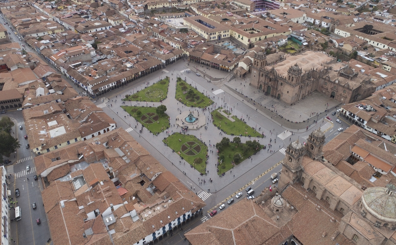 view from top main square cusco