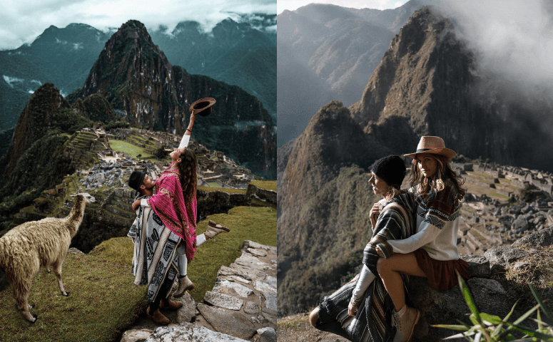 machu picchu with two couples