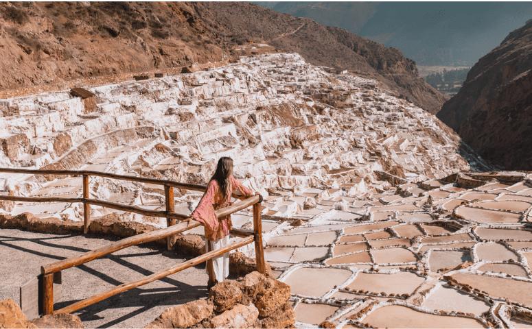 woman at maras salt mines